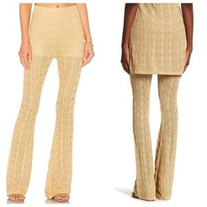 NWT Gold Crochet Take Me Out Flare Boho Pant